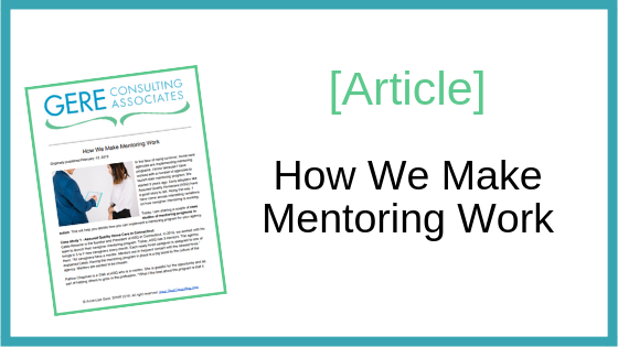 Article: How we make mentoring work