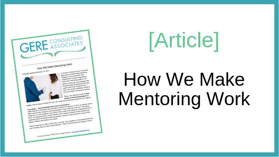 Article: How we make mentoring work
