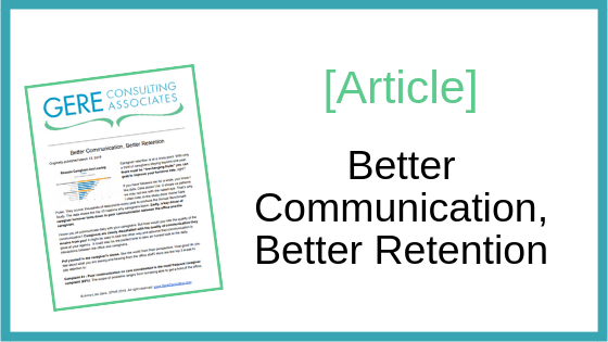 Article: Better communication, better retention