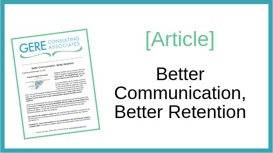 Article: Better communication, better retention