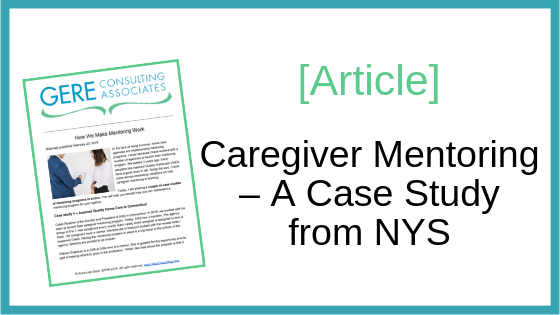 Article: Caregiver mentoring - A case study from NYS