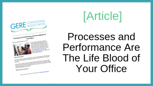 Article: Processes and performance are the life blood of your office
