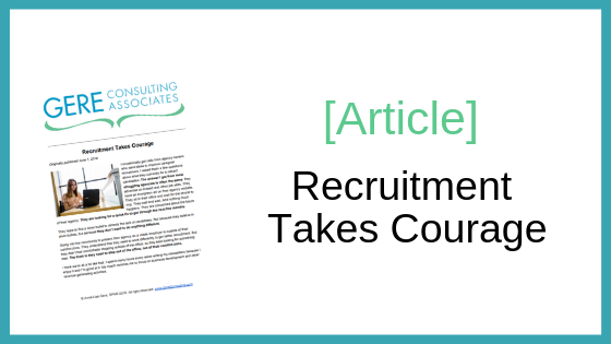 Article: Recruitment takes courage