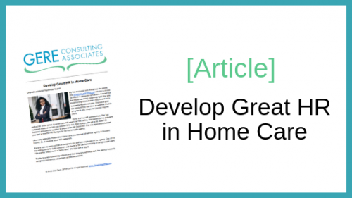 Article: Develop great HR in home care
