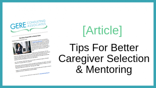 Article: Tips for better caregiver selection & mentoring