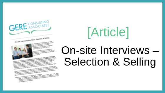 Article: On-site interviews - Selection & Selling