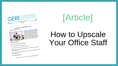 Article: How to upscale your office staff