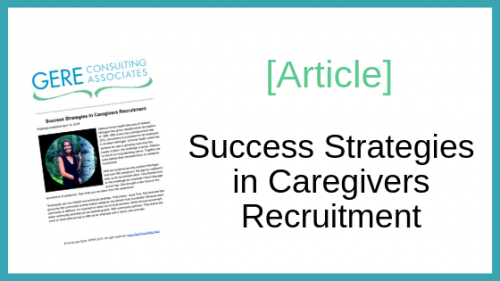 Article: Success strategies in caregivers recruitment