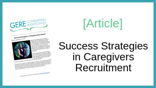 Article: Success strategies in caregivers recruitment